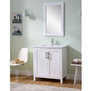 Infurniture Thick-Edged Ceramic Sink Bathroom Vanity and Mirror Set (30 in.)