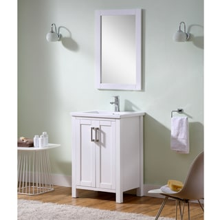 Infurniture White Ceramic 24-inch Thick Edge Sink Bathroom Vanity with Matching Wall Mirror
