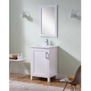 Infurniture 24-inch Thick Edge Ceramic Sink White Bathroom Vanity with Matching Wall Mirror