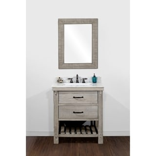 Infurniture Rustic Style 30-inch Single Sink Bathroom Vanity with Matching Wall Mirror