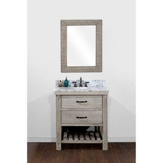 Infurniture Recycled Fir and Metal 30-inch Single-sink Bathroom Vanity with Carrara White Marble Top and Matching Wall Mirror
