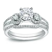 Auriya Platinum 1ct TDW Certified Round 3-Stone Diamond Bridal Ring Set