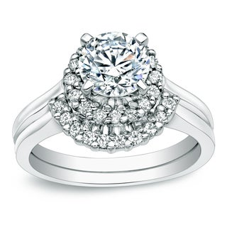 Auriya Platinum 1ct TDW Certified Round-cut Diamond Halo Bridal Ring Set