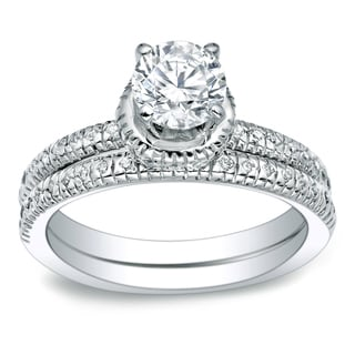 Auriya Platinum 1ct TDW Certified Round-cut Diamond Bridal Ring Set