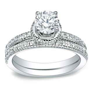Auriya Platinum 1ct TDW Round Cut Diamond Bridal Ring Set (H-I, I1-I2)