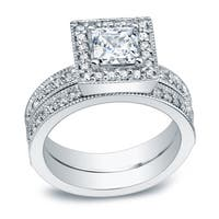 Auriya Platinum 1 1/2ct TDW Certified Princess-cut Diamond Halo Engagement Ring Set