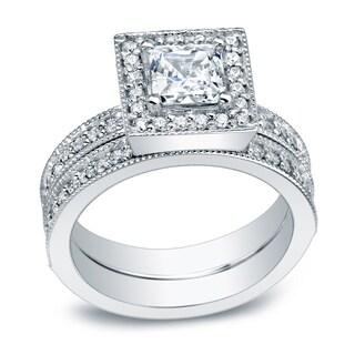 Auriya Vintage Inspired 1 1/2ct TDW Princess Diamond Halo Engagement Ring Set Platinum