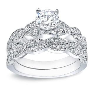 Auriya Platinum 1ct TDW Certified Round-cut Diamond Braided Bridal Ring Set
