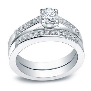 Auriya Platinum 1ct TDW Round Diamond Bridal Ring Set (I-J, I1-I2)