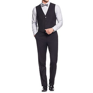Calvin Klein Men's Xfit Three-Piece Herringbone Rayon Slim-Fit Suit