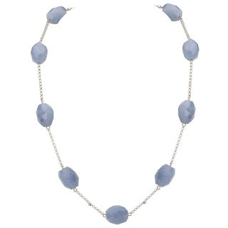 Avanti 14K White Gold Blue Chalcedony Bead Station Necklace