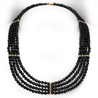 Avanti 14K Yellow Gold Faceted Black Onyx Multi-Strand Statement Necklace
