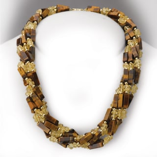 Avanti 14K Yellow Gold Tiger Eye and Citrine Beaded 6 Strand Necklace