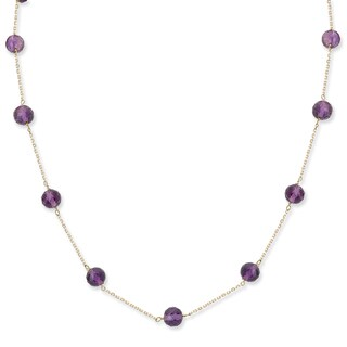 Avanti 14K Yellow Gold Faceted Amethyst Bead Station Necklace