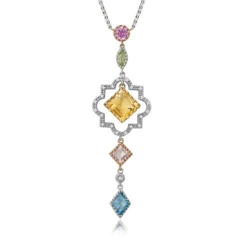 14K Tri Tone Multi Colored Stone and Diamond Geometric Dangle Pendant Necklace