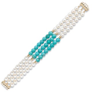 Avanti 14K Yellow Gold Freshwater Pearl and Turquoise Triple Strand Bracelet (6-6.5 mm)