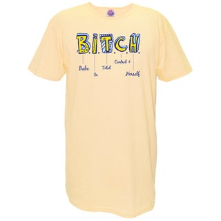 'B.I.T.C.H Babe In Total Control Of Herself' Yellow Cotton Nightshirt