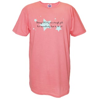 Women's 'Being Sexy is a Tough Job But Somebody Has To Do It!' Multicolored Cotton Nightshirt