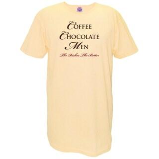 Women's 'Coffee Chocolate Men The Richer The Better' Yellow Cotton Nightshirt