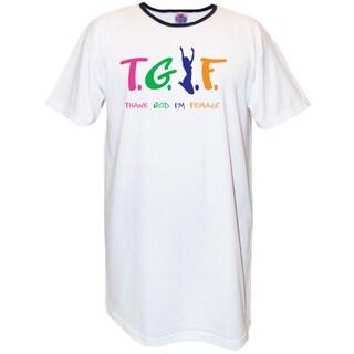 'T.G.I.F Thank God I'm Female' White Cotton Nightshirt