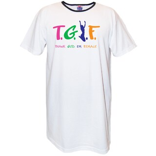 'T.G.I.F Thank God I'm Female' White Cotton Nightshirt
