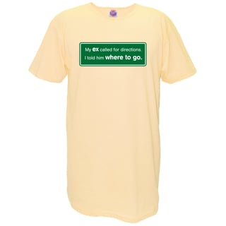 Women's 'My Ex Called For Directions. I Told Him Where To Go.' Yellow Cotton Nightshirt
