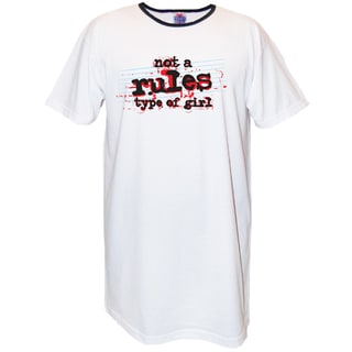 'Not a Rules Type of Girl' White Cotton Nightshirt