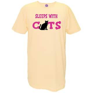 Women's 'Sleeps With Cats' Yellow Cotton Nightshirt|https://ak1.ostkcdn.com/images/products/13215026/P19933663.jpg?impolicy=medium