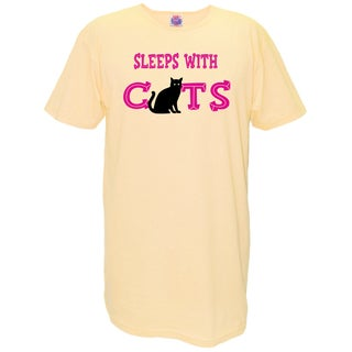 Women's 'Sleeps With Cats' Yellow Cotton Nightshirt