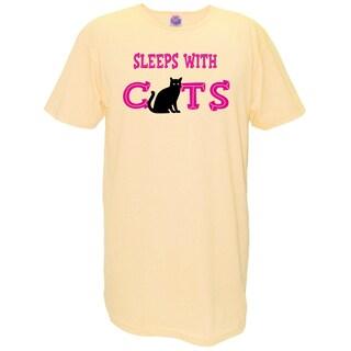 Women's 'Sleeps With Cats' Yellow Cotton Nightshirt