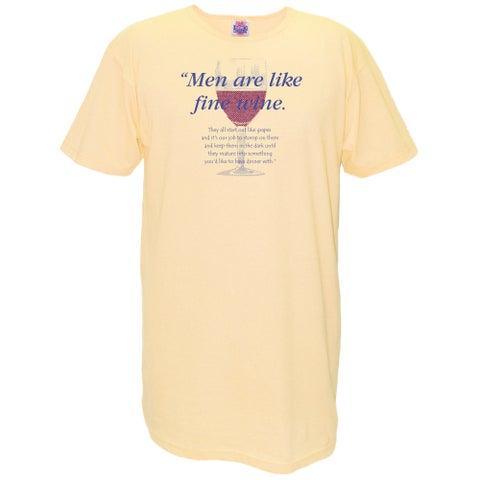 'Men Are Like Fine Wine' Yellow Cotton Nightshirt