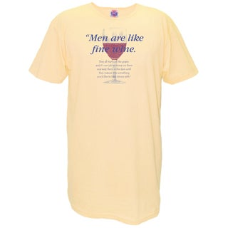 'Men Are Like Fine Wine' Yellow Cotton Nightshirt