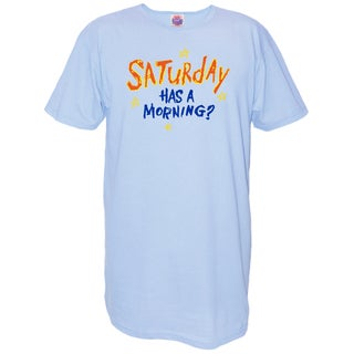 'Saturday Has A Morning?' Blue Cotton Oversized Nightshirt