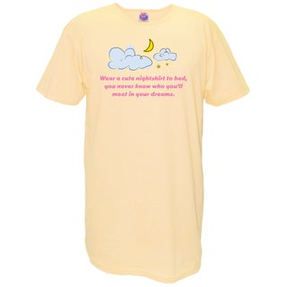 'Wear a Cute Nightshirt To Bed, You Never Know Who You'll Meet in Your Dreams' Yellow Cotton Nightshirt