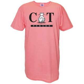 'Cat Person' Pink Cotton Nightshirt