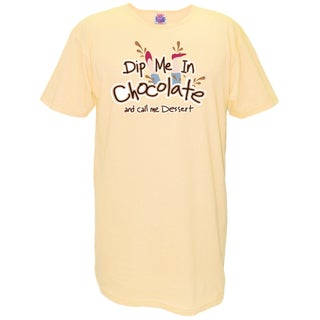 'Dip Me in Chocolate and Call Me Dessert' Yellow Cotton Oversized Nightshirt