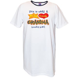 My Favorite Nightshirt Women's 'This Is What A Real Cool Grandma Looks Like' White Cotton Nightshirt