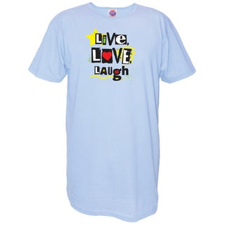Women's 'Live Love Laugh' Blue Cotton Nightshirt