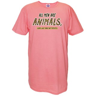 'All Men Are Animals Some Just Make Better Pets' Pink Cotton Oversized Nightshirt