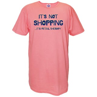 Women's 'It's Not Shopping...It's Retail Therapy' Pink Cotton Nightshirt