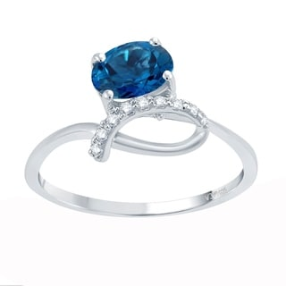Sterling Silver 1.44ct London Blue Topaz Bypass Ring