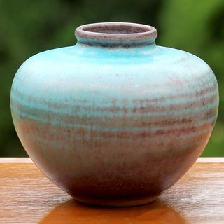 Handcrafted Ceramic 'Seaward Sand' Bud Vase (Thailand)