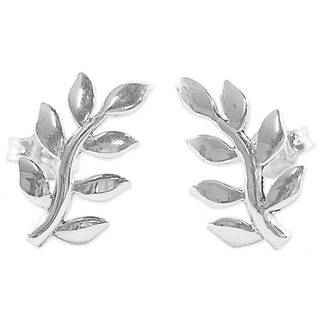 Handcrafted Sterling Silver 'Peaceful Leaves' Earrings (Thailand)