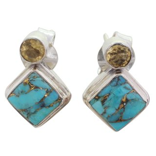 Handcrafted Sterling Silver 'Turquoise Sparkle' Citrine Turquoise Earrings (India)