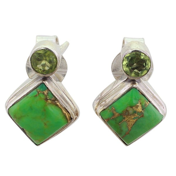 067b89efa Handmade Sterling Silver 'Green Sparkle' Peridot Composite  Turquoise Earrings