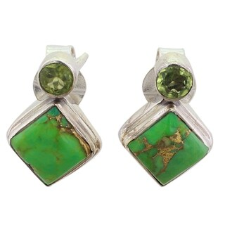 Handmade Sterling Silver 'Green Sparkle' Peridot Composite Turquoise Earrings (India)
