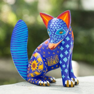 Handmade Copal Wood 'Zapotec Coyote' Alebrije Sculpture (Mexico)