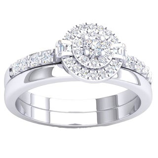 Elora 10K Gold 3/8 ct. TDW Round & Baguette Cut White Diamond Ladies Bridal Halo Engagement Ring With Matc
