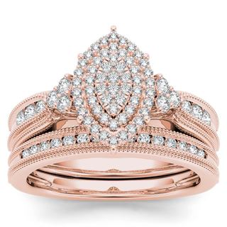 De Couer 14k Rose Gold 1/2ct TDW Diamond Cluster Halo Bridal Set - Pink (More options available)