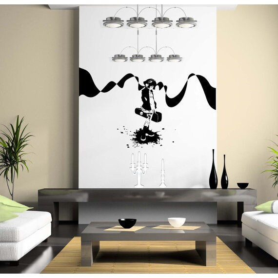 Japanese Anime Girl Music Wall Art Sticker Decal Size 48x76 Color Black